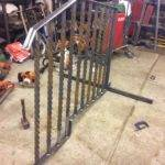 Handrail being fabricated
