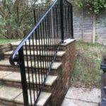 Handrail installed on outdoor steps