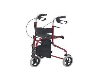 red three wheel walker